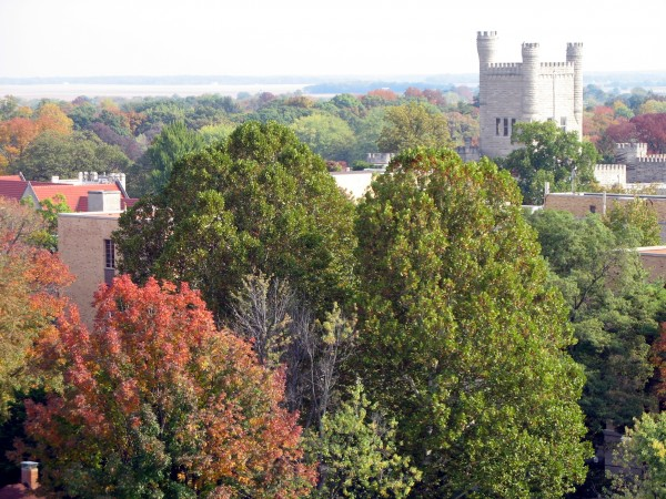 "The castle of EIU (""Old Main"") over autumn tree tops"